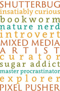 shutterbug, insatiably curious, bookworm, nature nerd, introvert, mixed media artist, curator, sugar addict, master procrastinator, explorer, pixel pusher