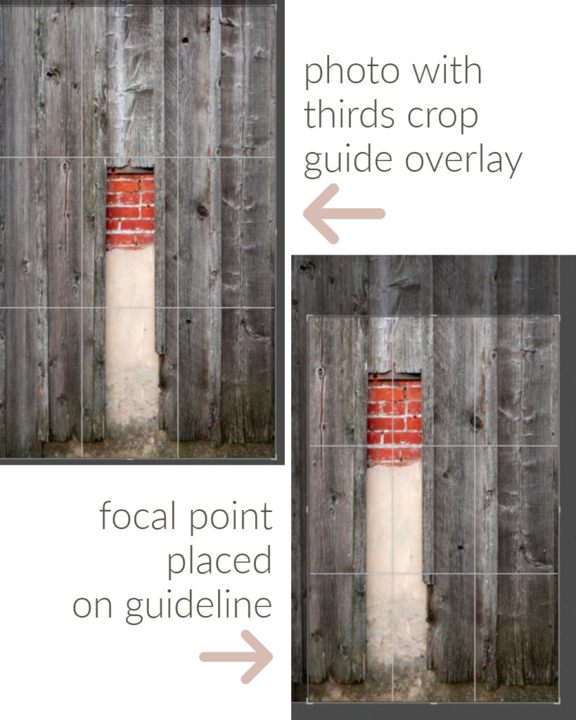 Cropping photo use rule of thirds guidelines