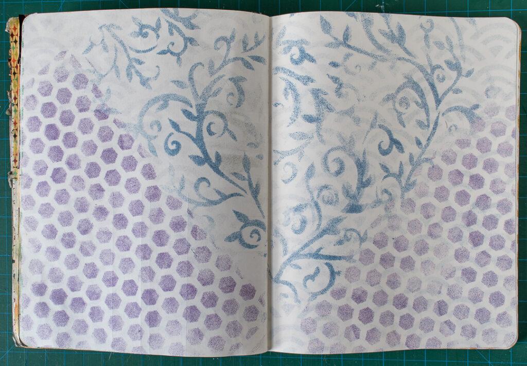 Stenciled Art Journal Background