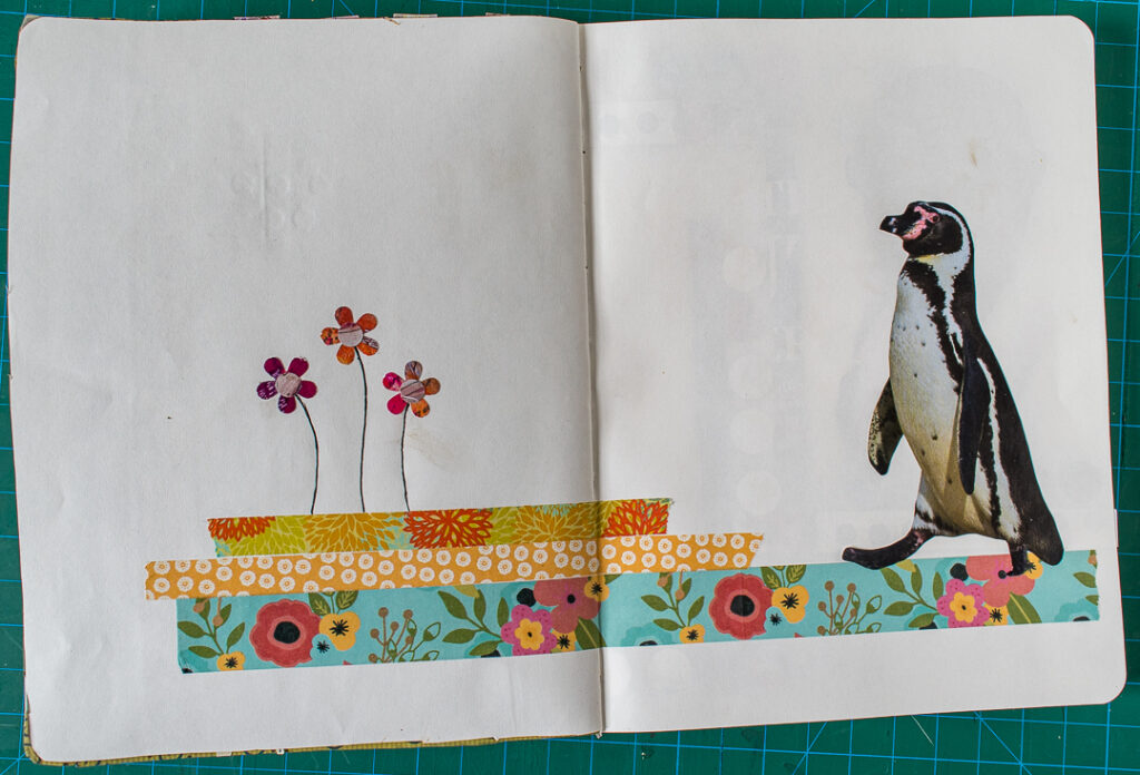 A whimsical art journal spread with