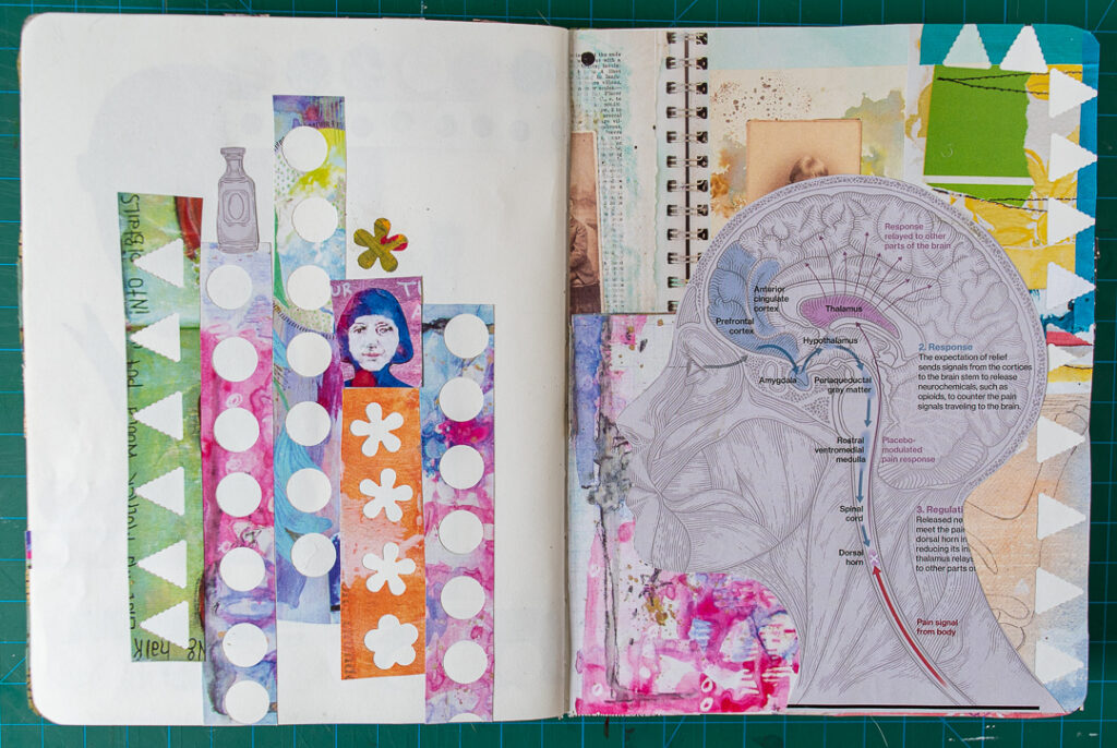 Art journal spread using images from magazines.