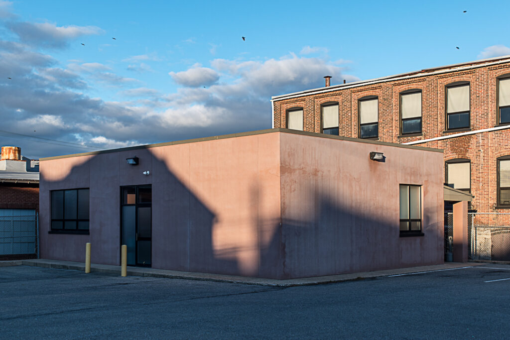 Pink building with light and shadows