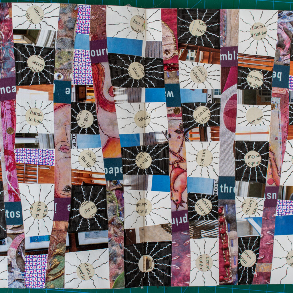 Patchwork art journal spread-center