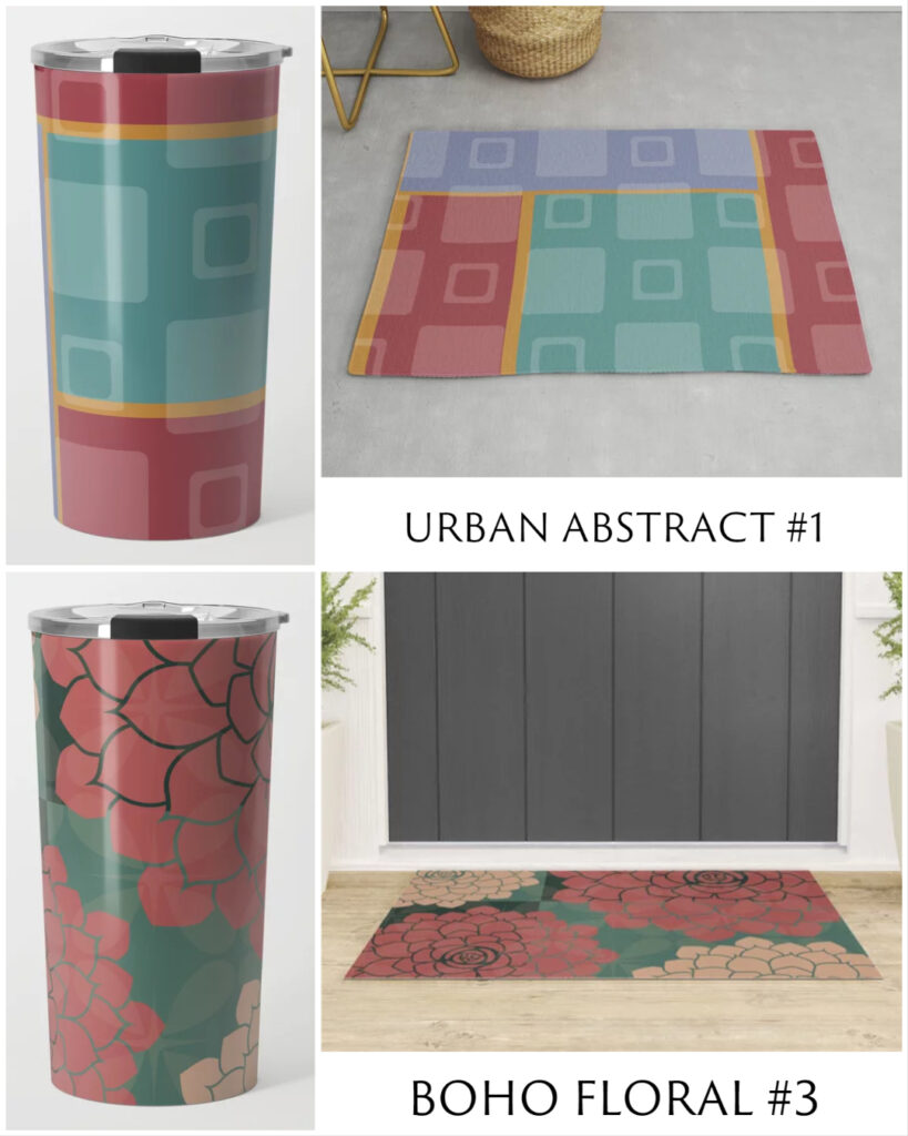 Urban Abstract #1 and Boho Floral #3