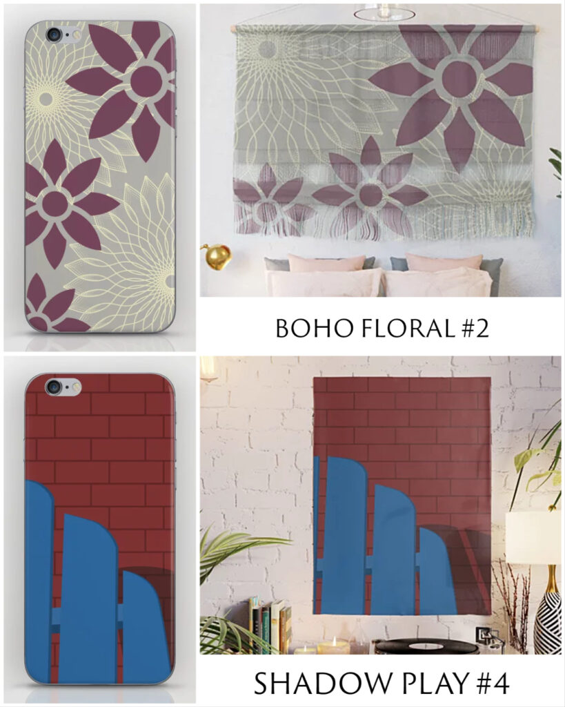 New Designs in Shop: Boho Floral #2 and Shadow Play #4
