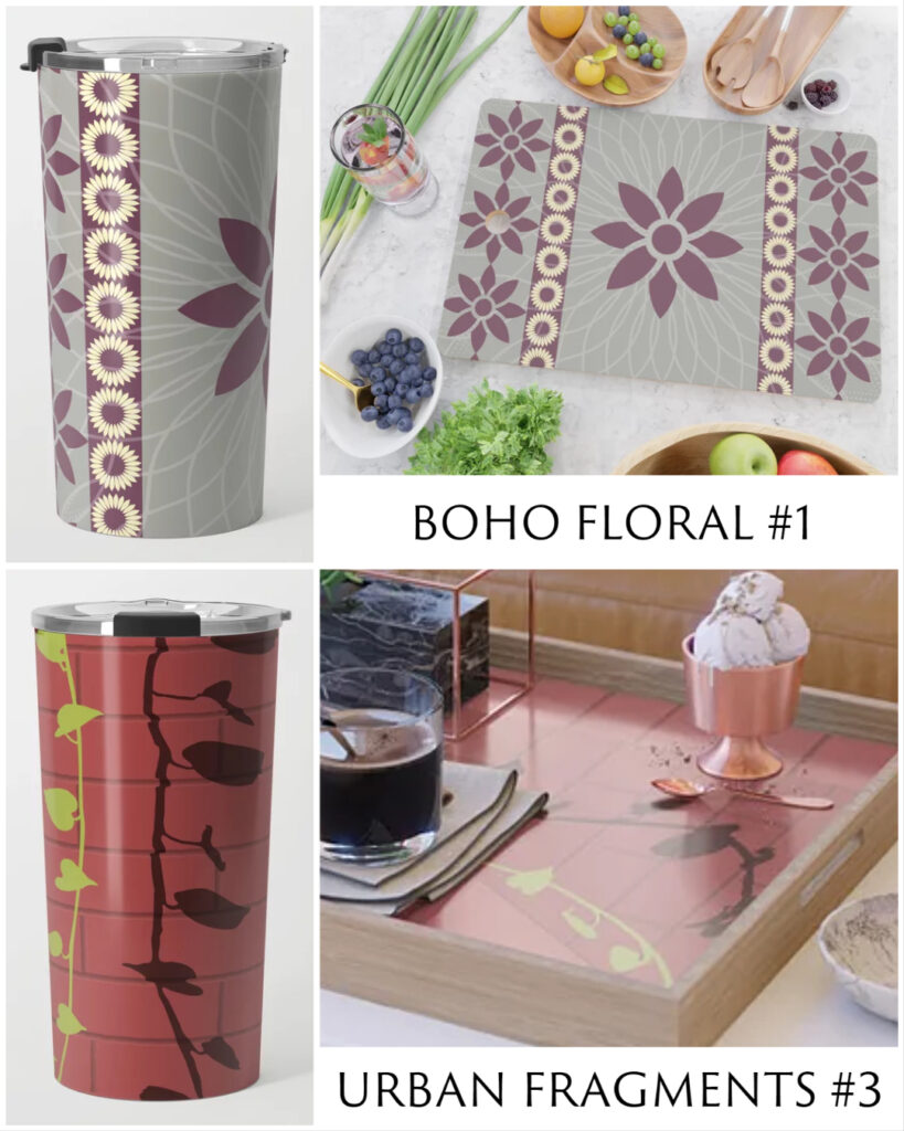 New Designs in Shop: Boho Floral #1 and Urban Fragments #3