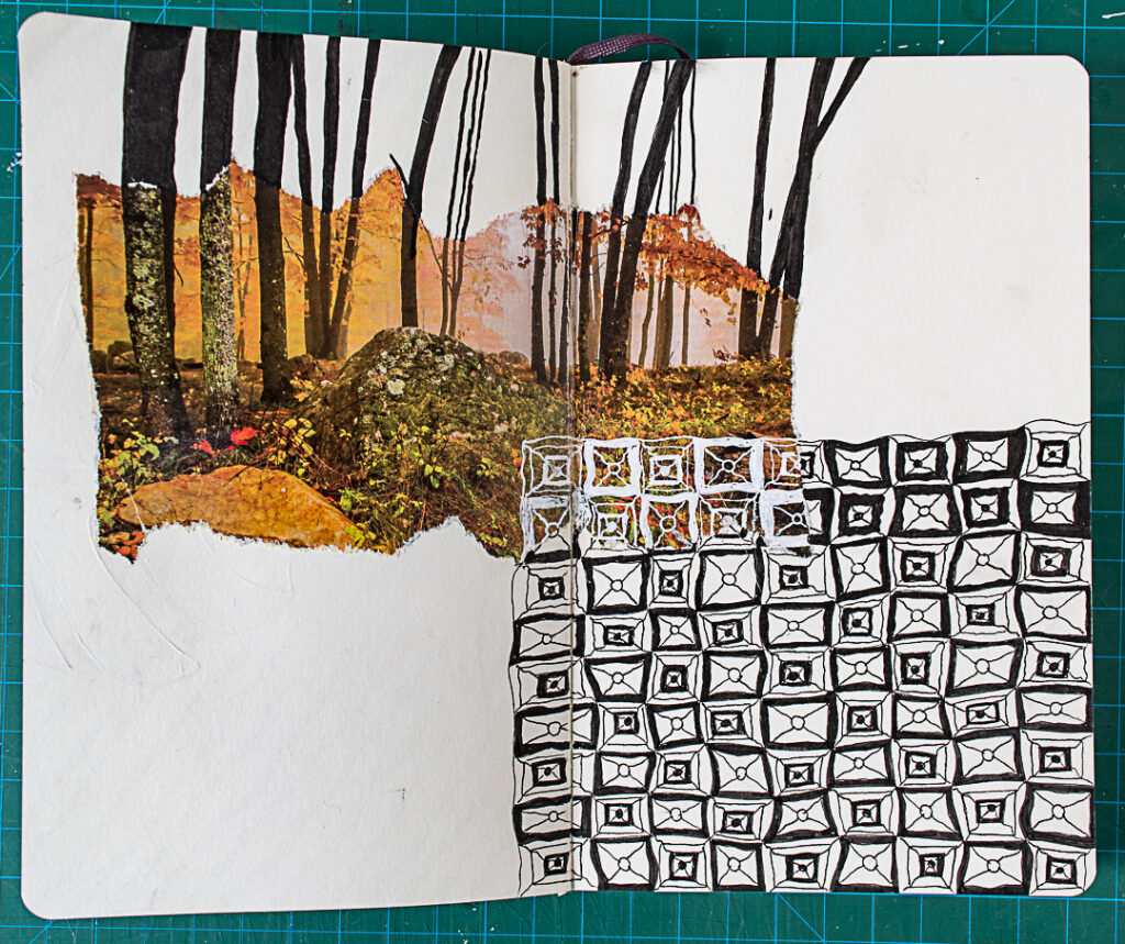 Photo & Doodles Art Journal Spread: Competed