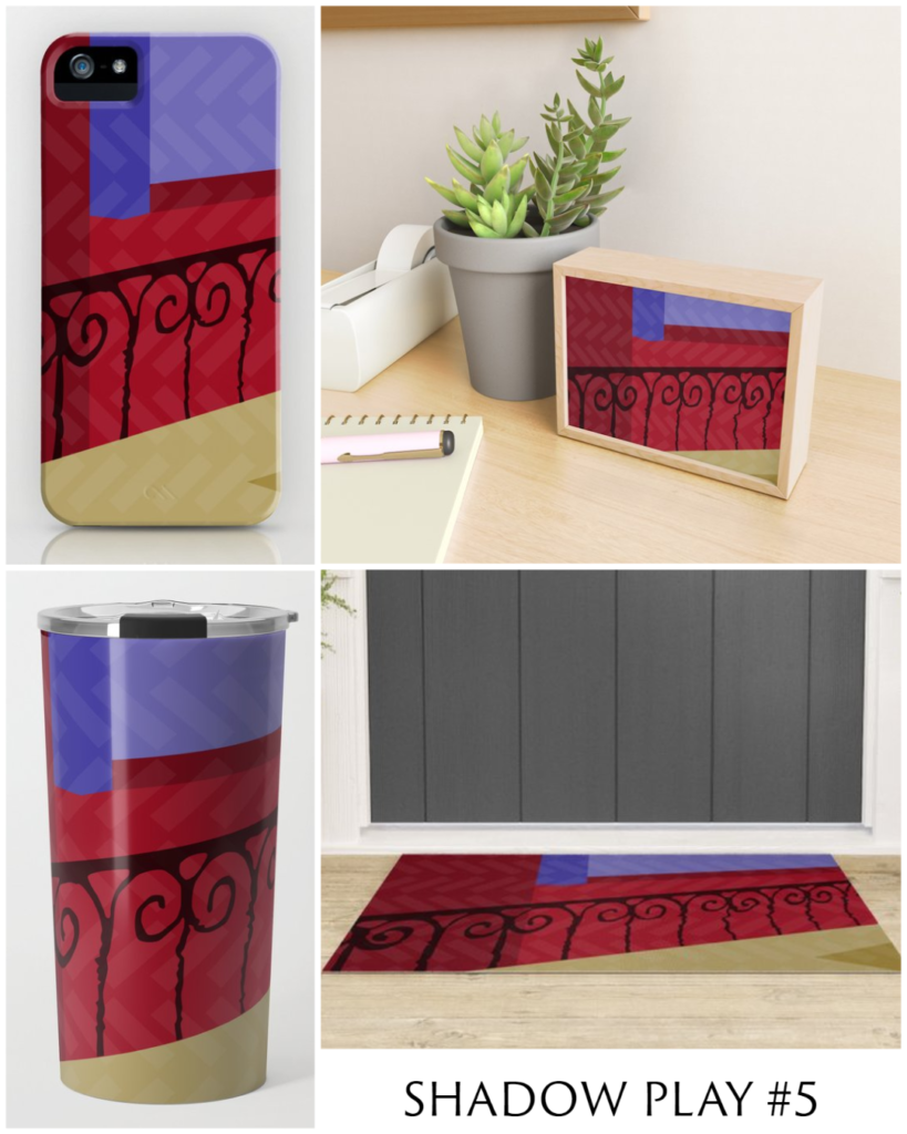 Shadow Play #5 phone cases, framed mini print, travel mug, and welcome mat.