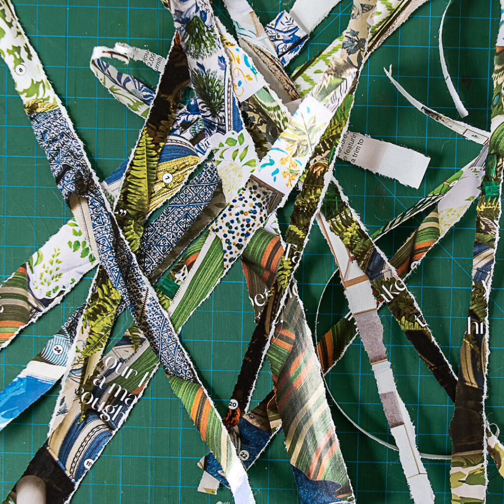 Torn paper strips