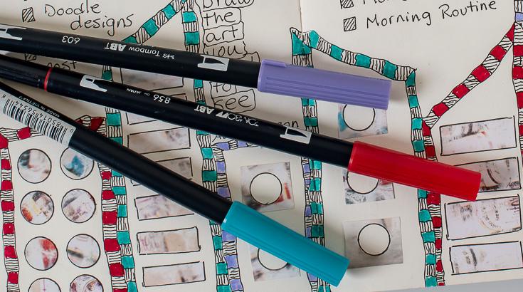 Favorite art journal tools: colored brush pens
