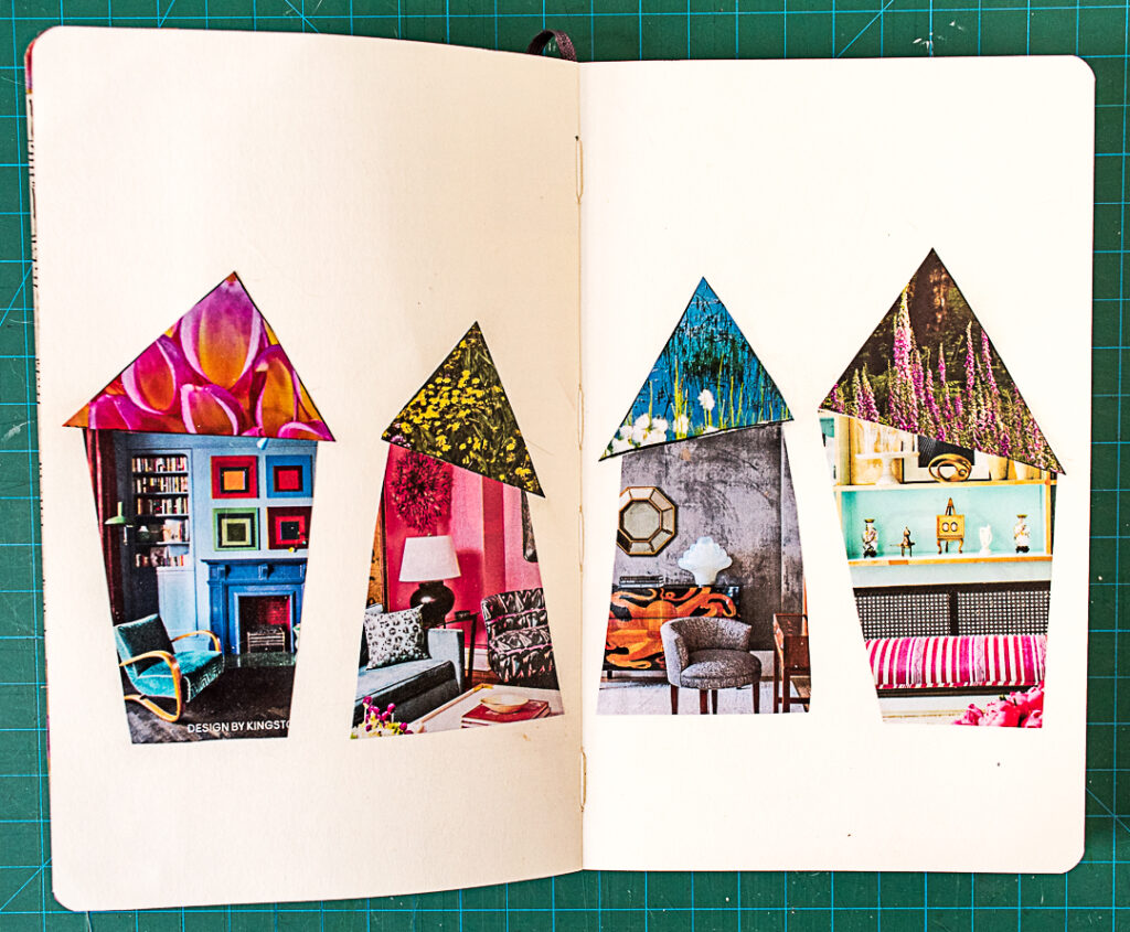 Gluing house shapes into journal