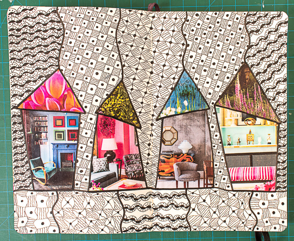 Completed Houses & Doodles Art Journal Spread