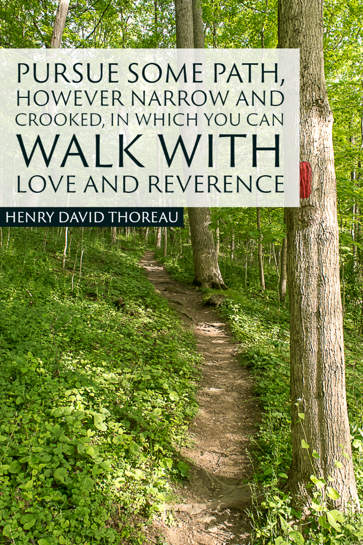 """Pursue some path, however narrow and crooked, in which you can walk with love and reverence."" ~Henry David Thoreau"