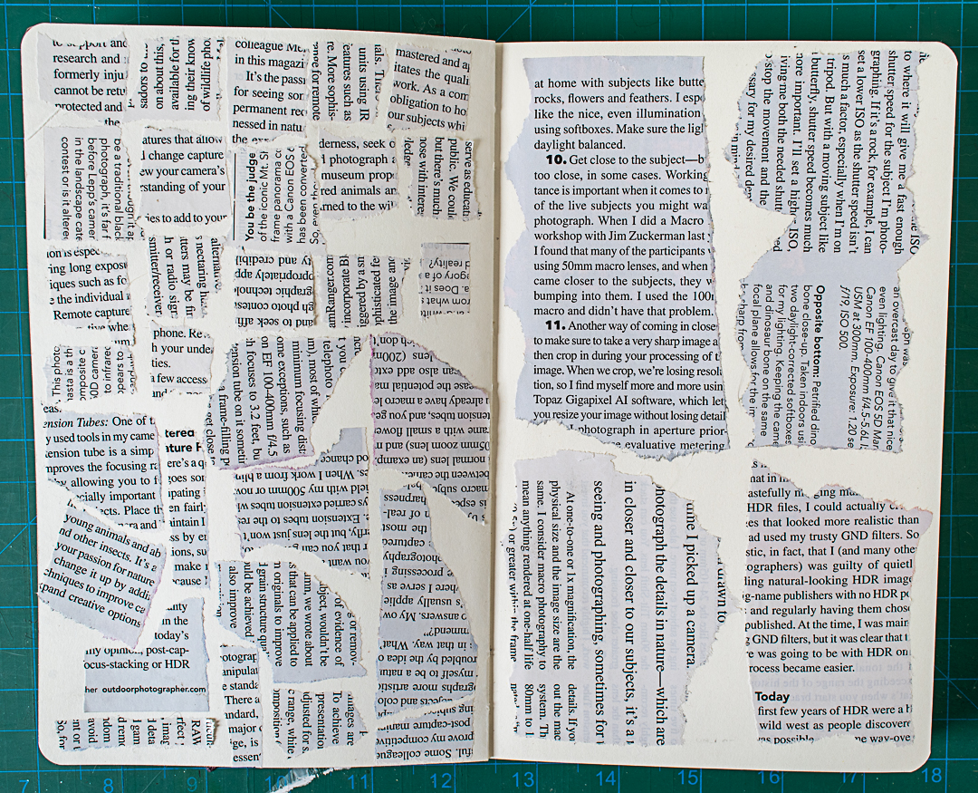 All the text glued onto spread