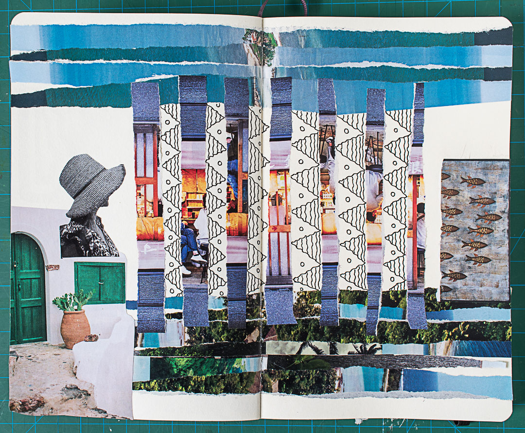 Completed cut and torn paper collage in my art journal