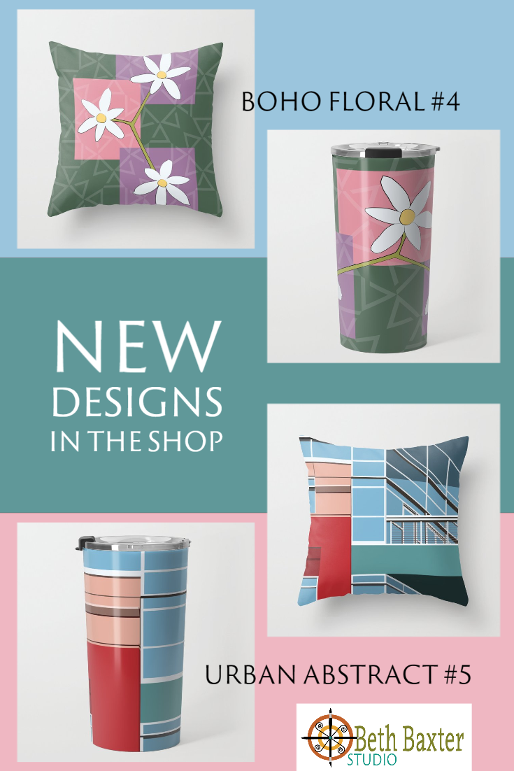 New Designs in the Shop: Boho Floral #4 and Urban Abstract #5
