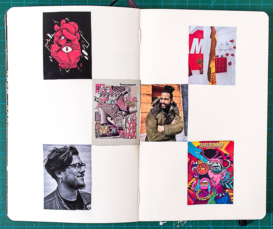 Collage images glued in journal
