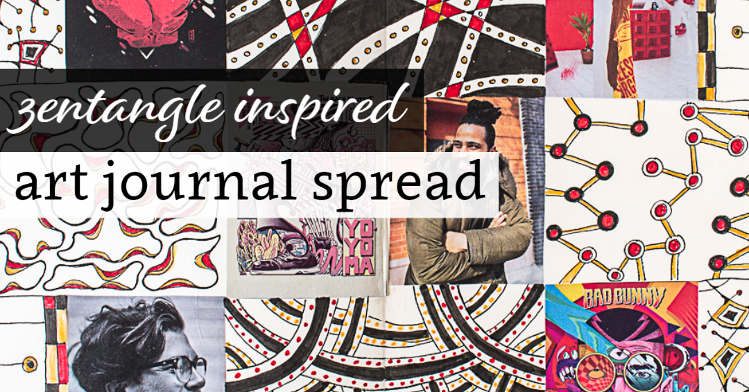 Zentangle Inspired Art Journal Spead