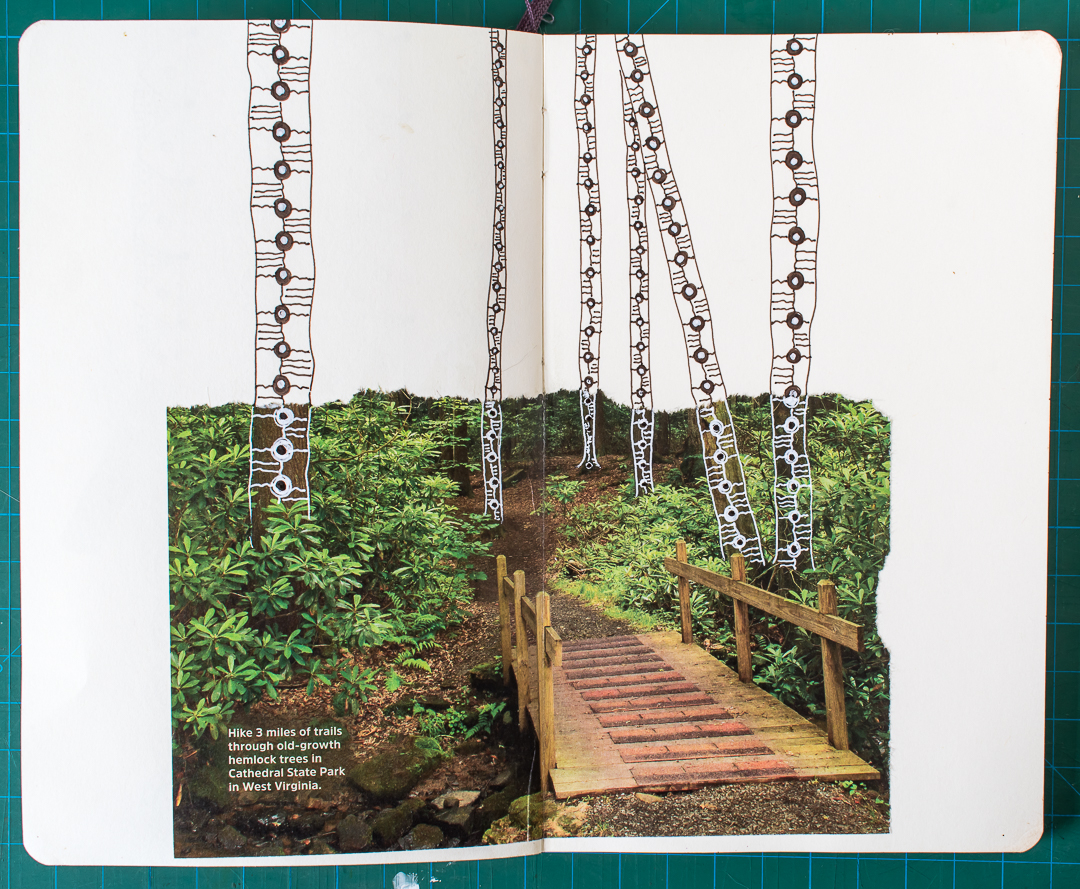 Completed Forest Path Art Journal Spead