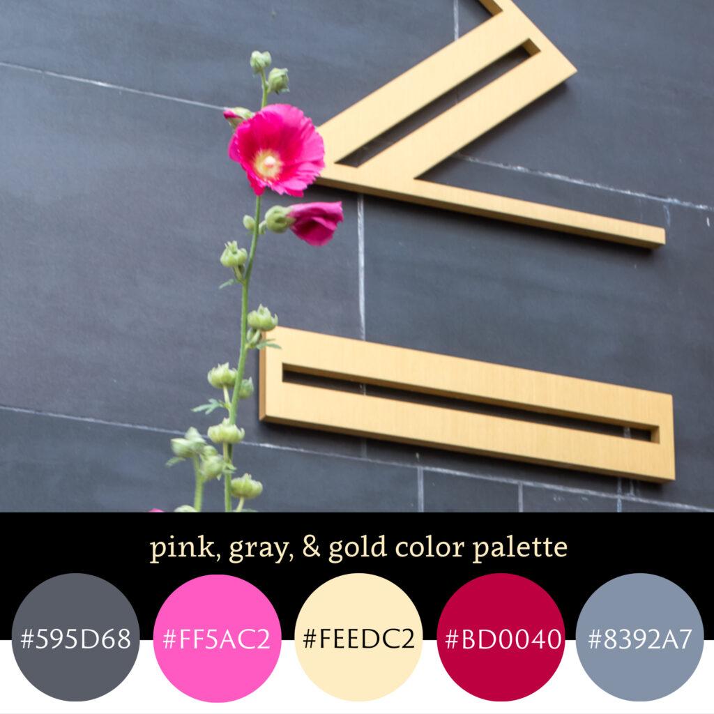 Pink, Gray, & Gold Color Palette