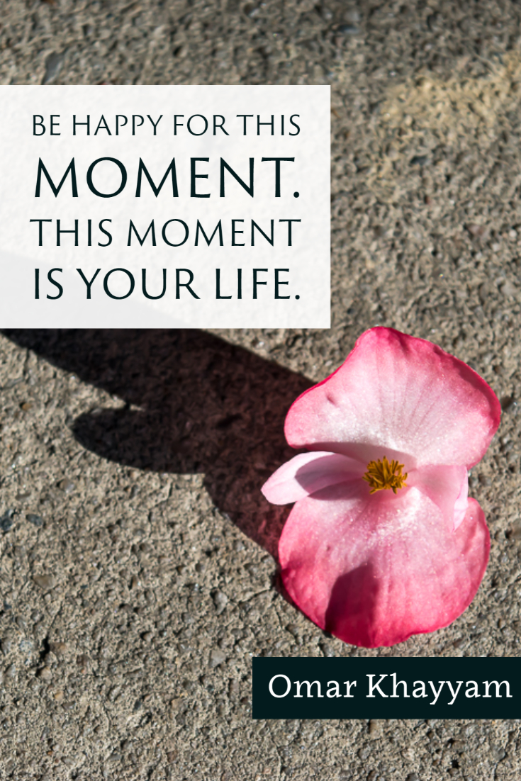 """""""Be happy for this moment. This moment is your life."""" ~Omar Khayyam"""