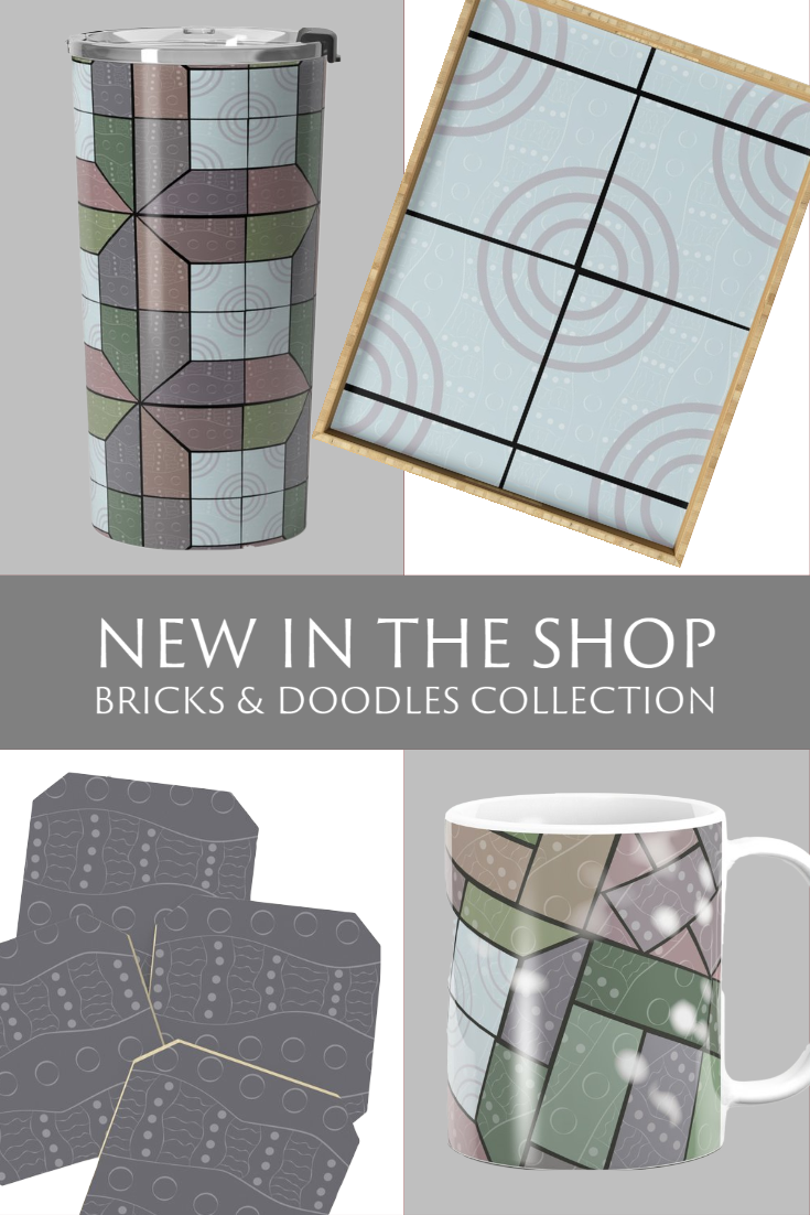 New in my Society6 Shop: Bricks & Doodles Collection