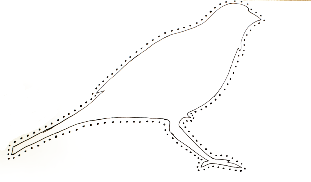 Hand-drawn bird motif