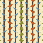 Colorful Birds Stripe Pattern