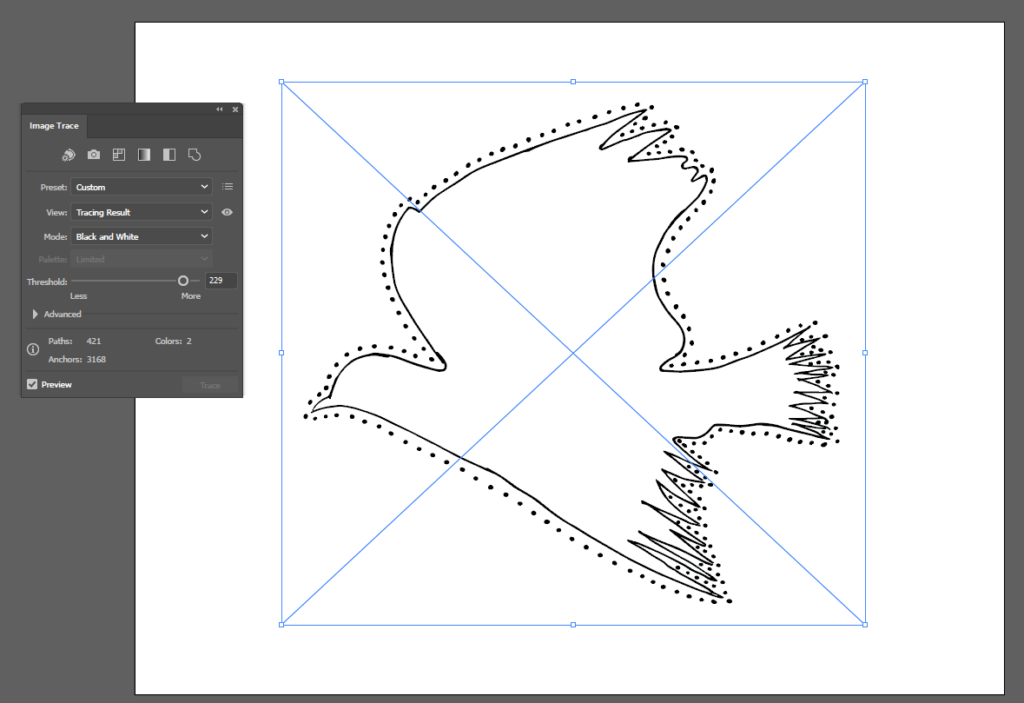 Image tracing in Adobe Illustrator