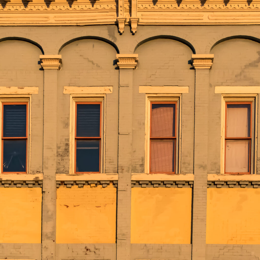 Wall with pilasters and windows