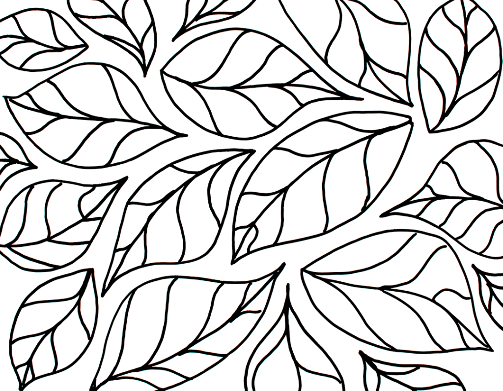 Black and white drawing of leaves for background.