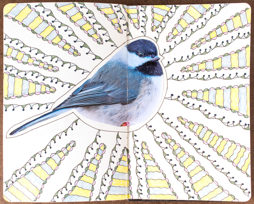 Chickadee with doodles in my art journal
