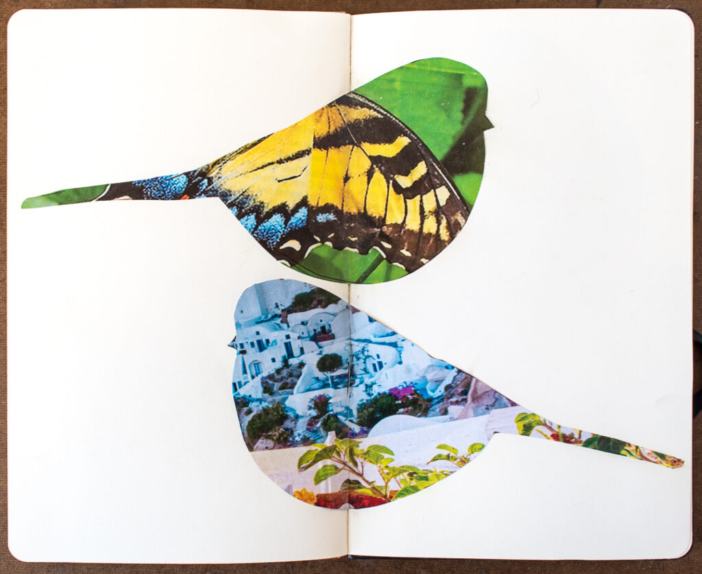 2 bird shapes glued into journal