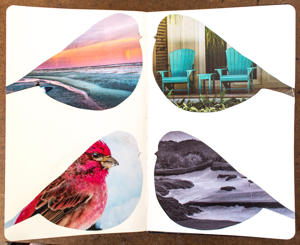 4 bird shapes glued into journal
