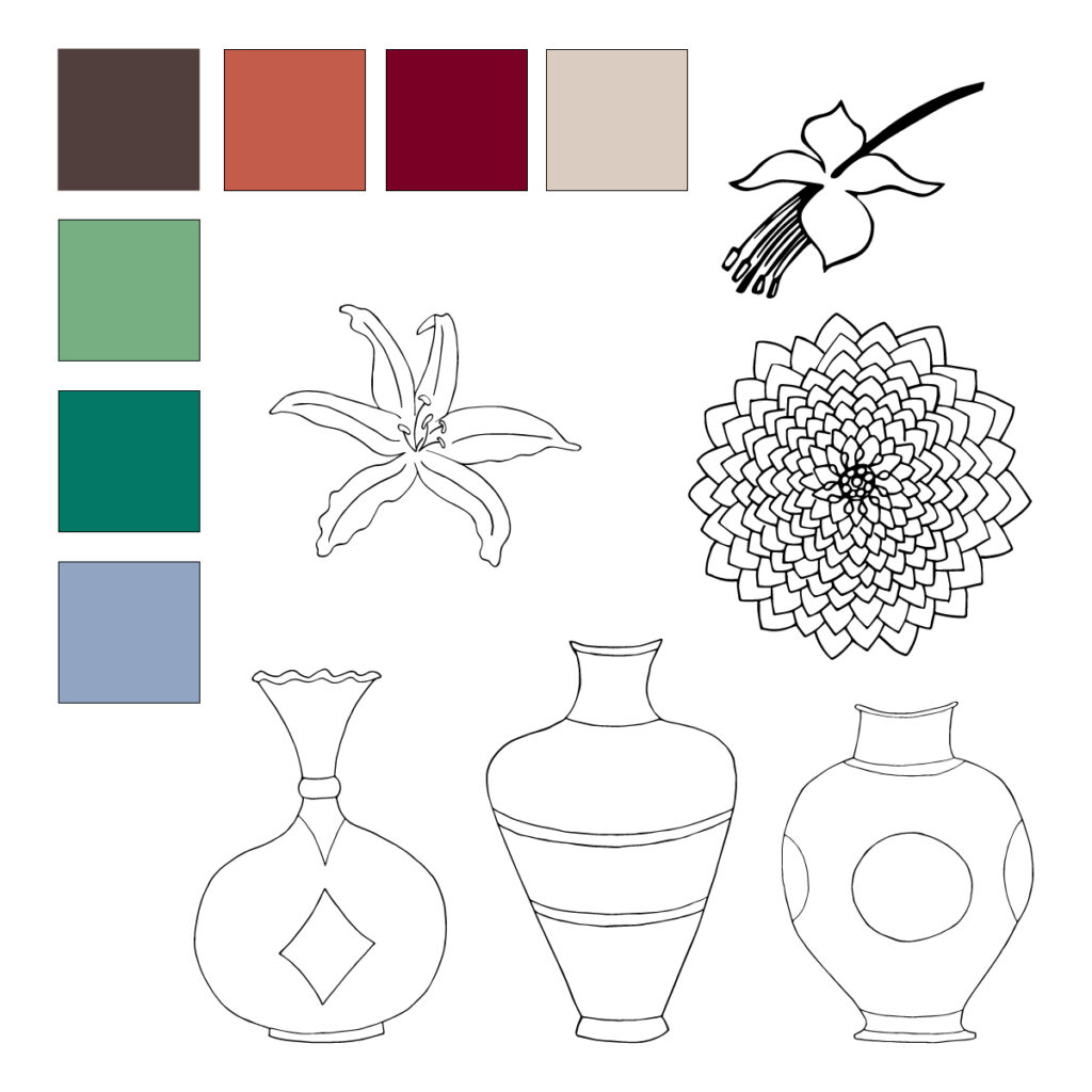 Floral still life color palette and motifs