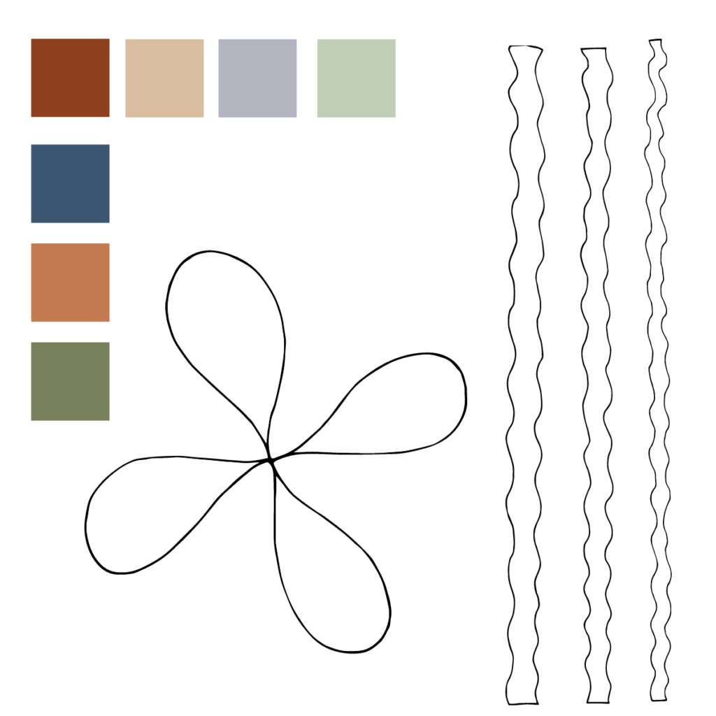 Quiet Blooms Color Palette & Motifs