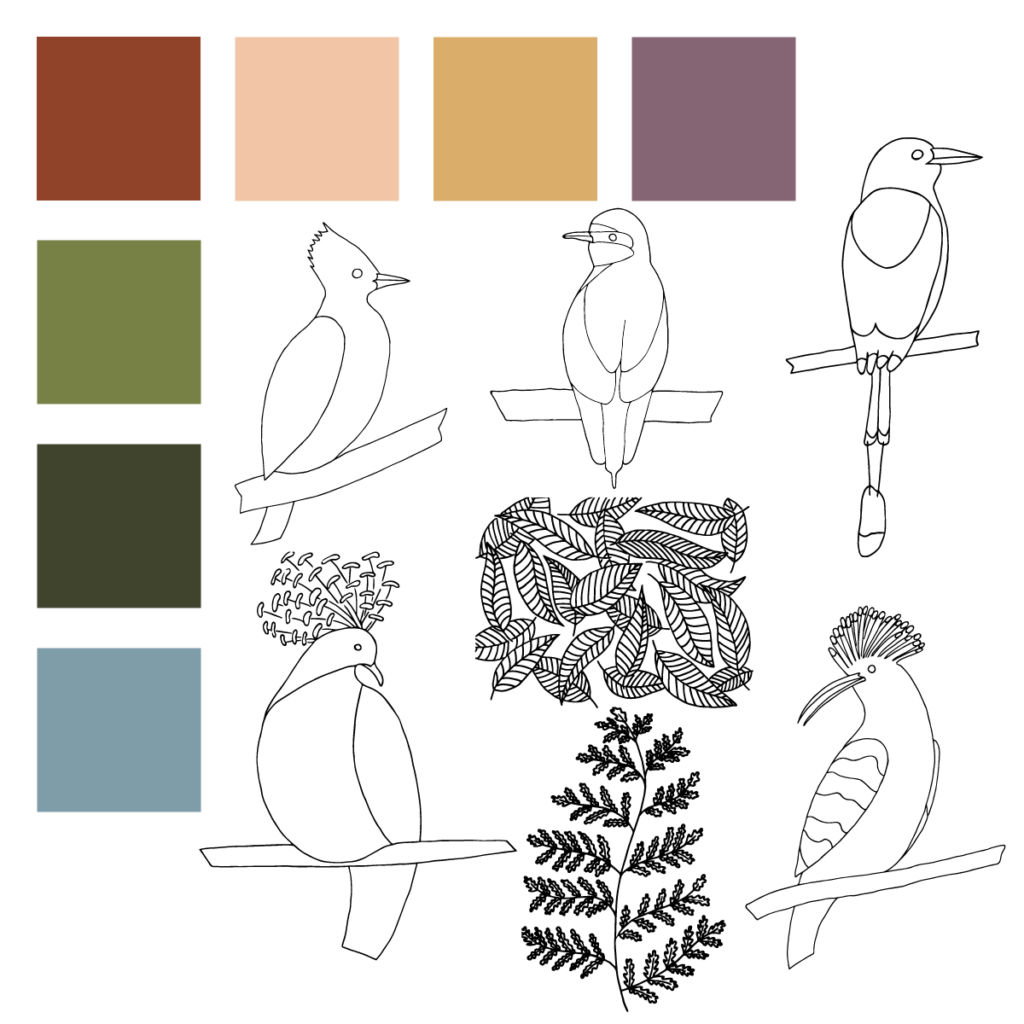 Tropical Birds color palette and motifs