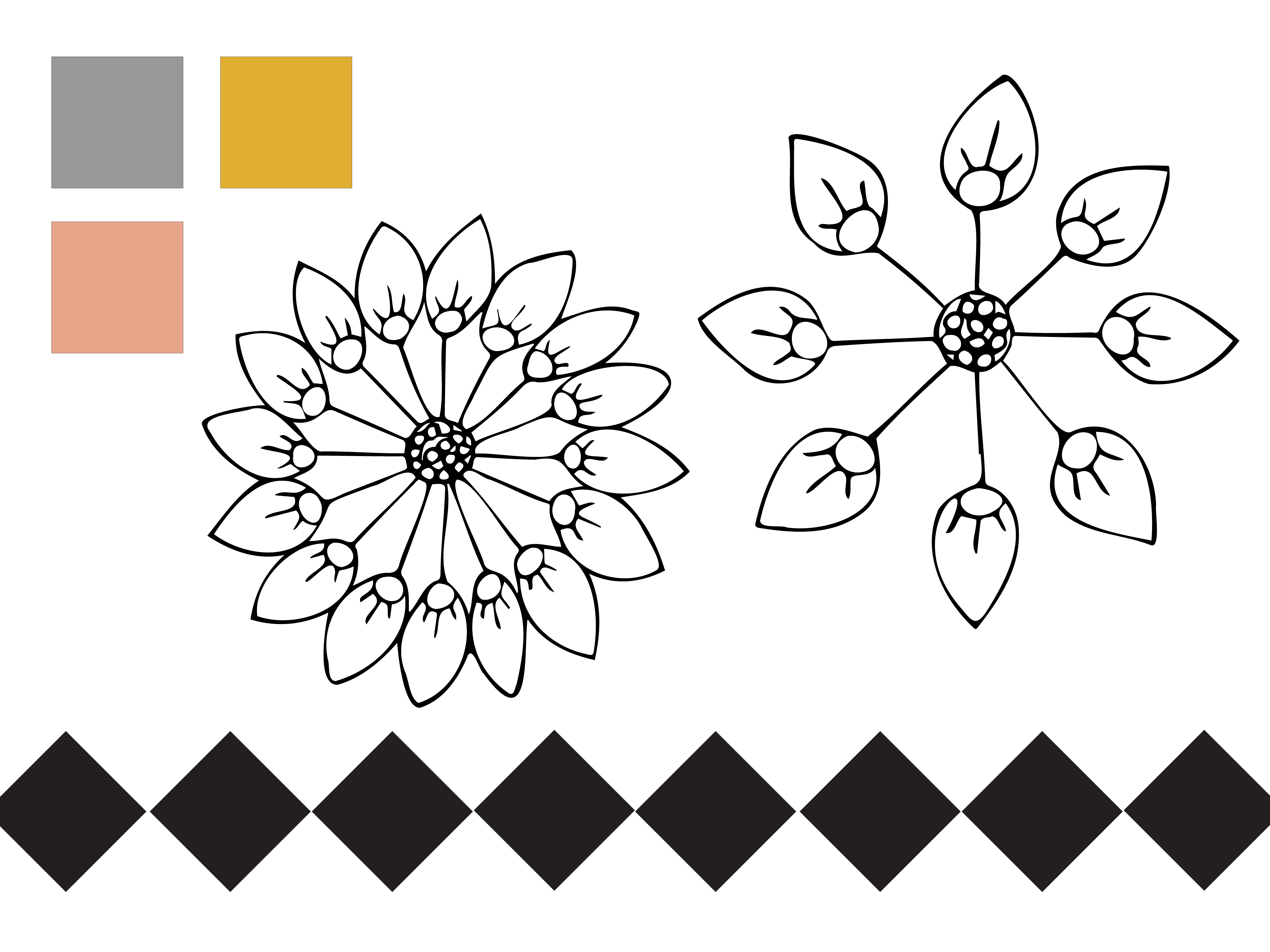 Color palette and motifs for my yellow, coral, and gray floral pattern