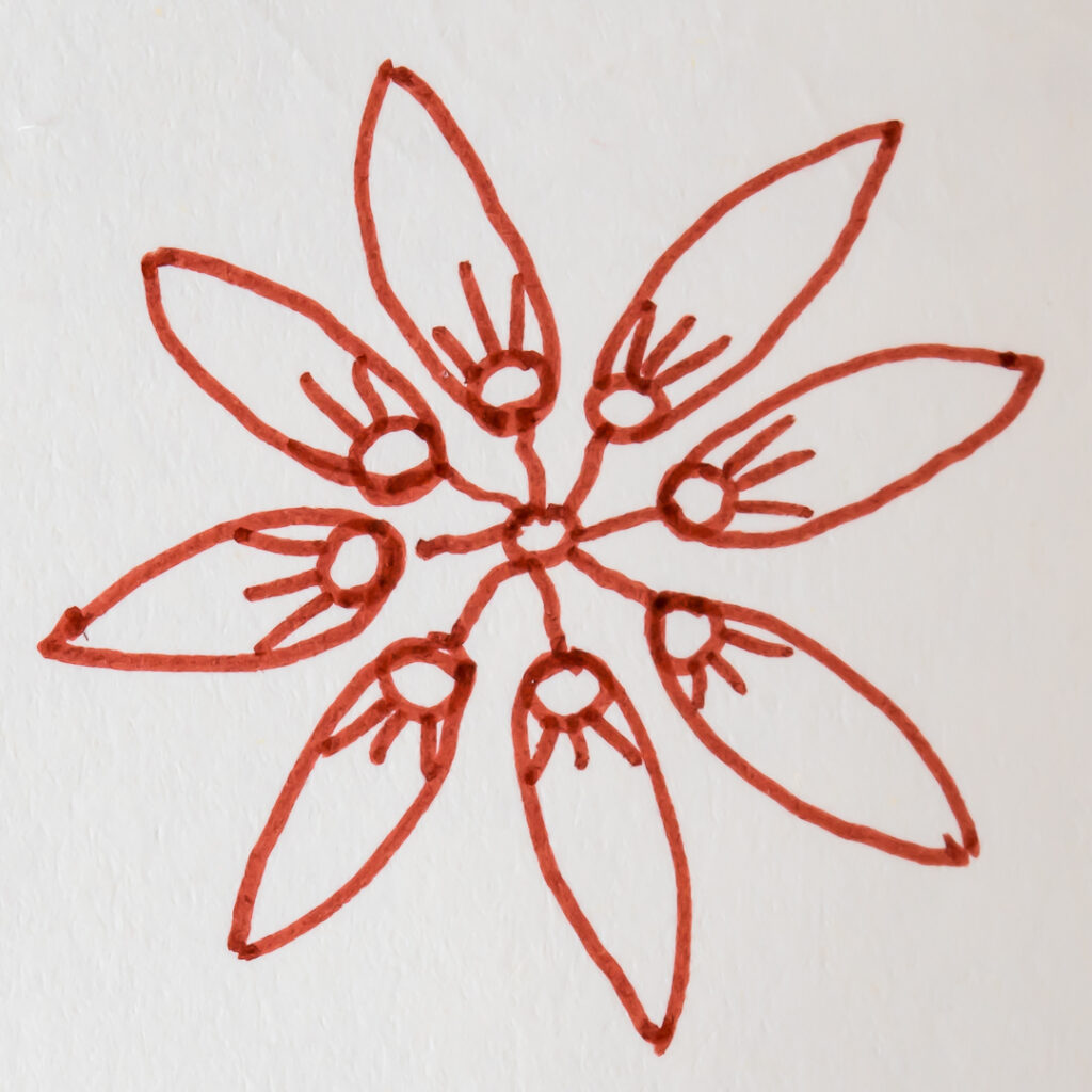 Sketch of stylized flower