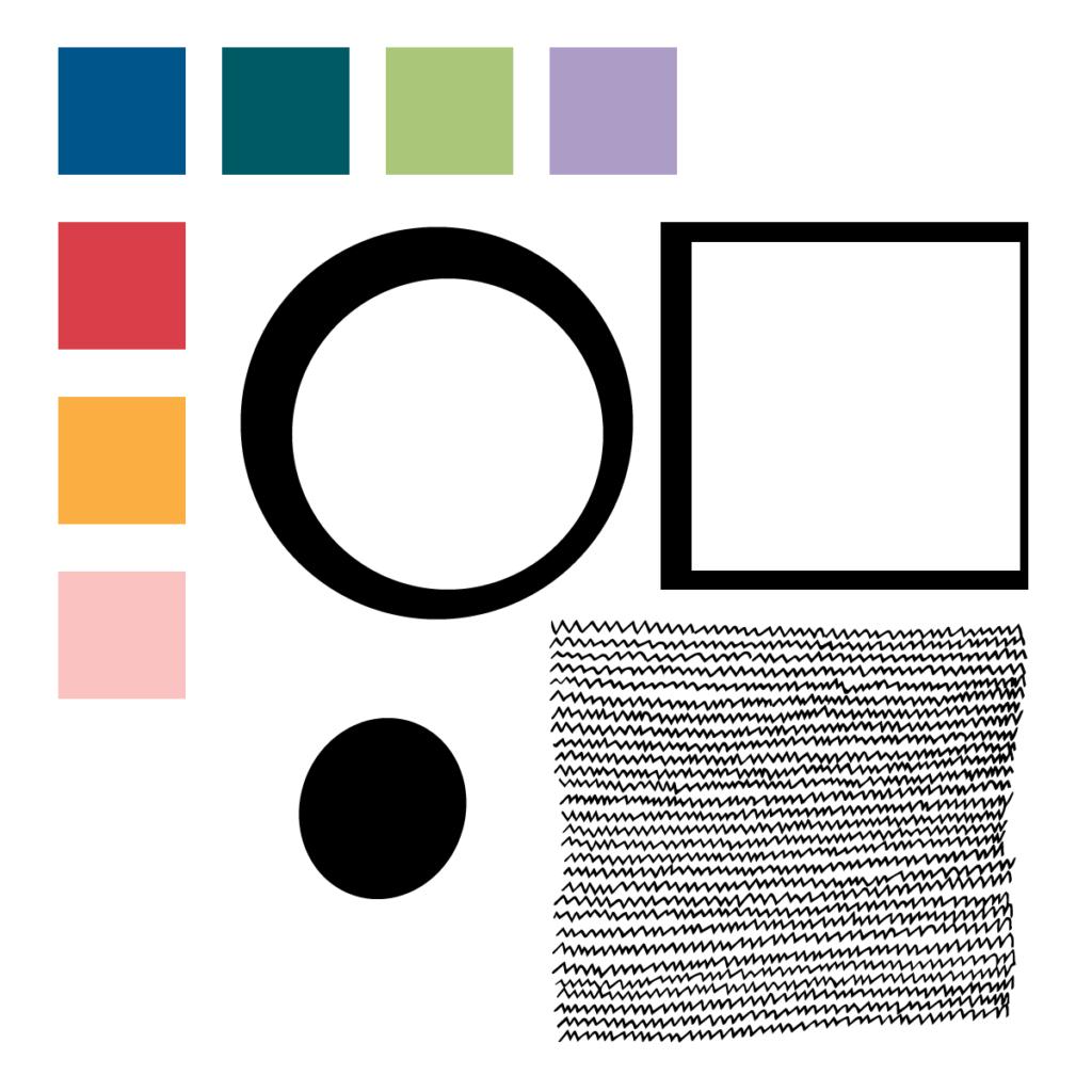 Circles & Squares color pallete and motifs