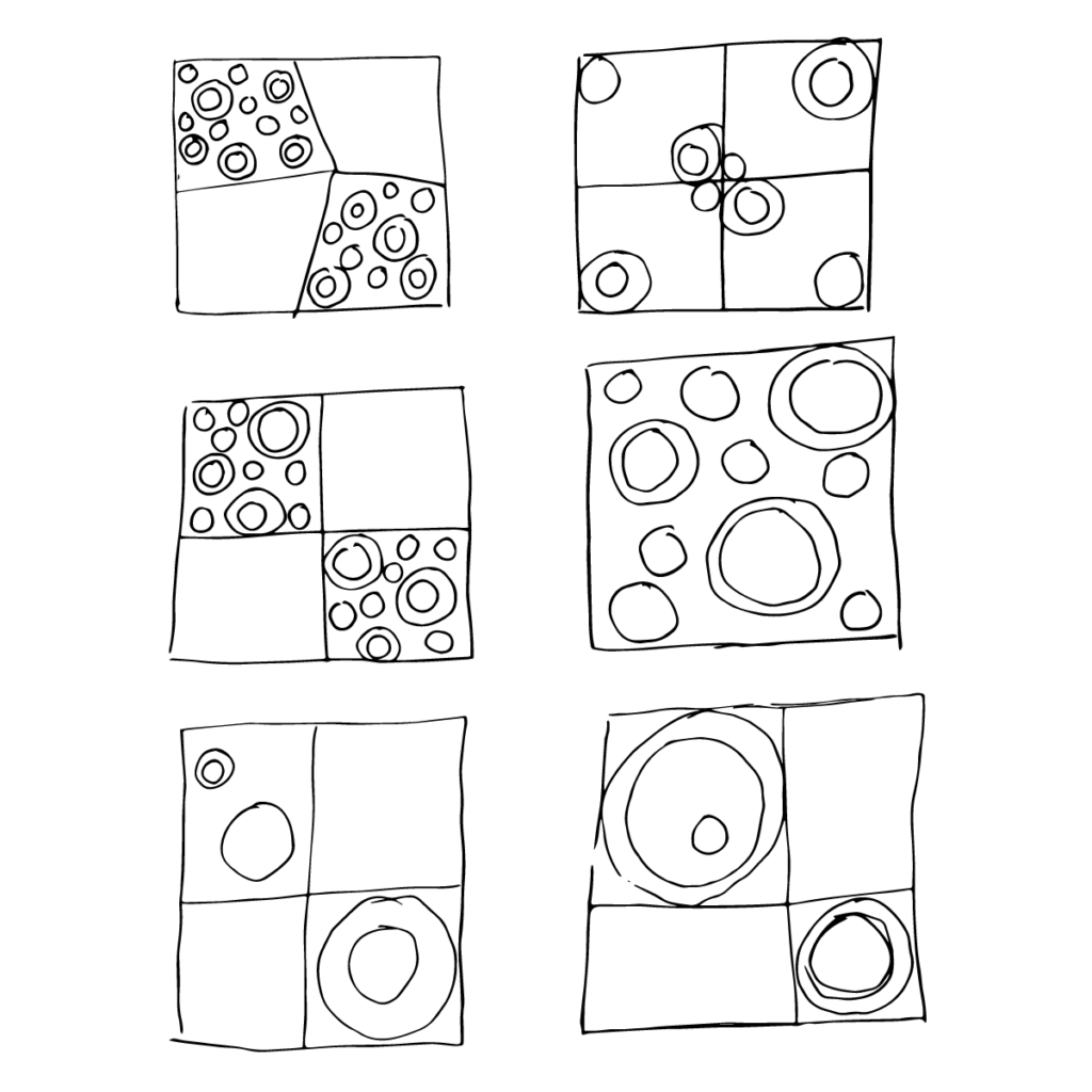 Rough sketches of layout possibilities for Circles & Squares