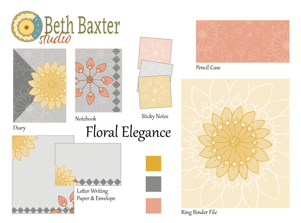 Concept board for my yellow, coral, and gray floral pattern on stationery