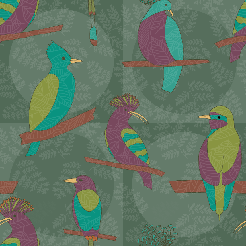 Tropical Birds pattern with revised color palette