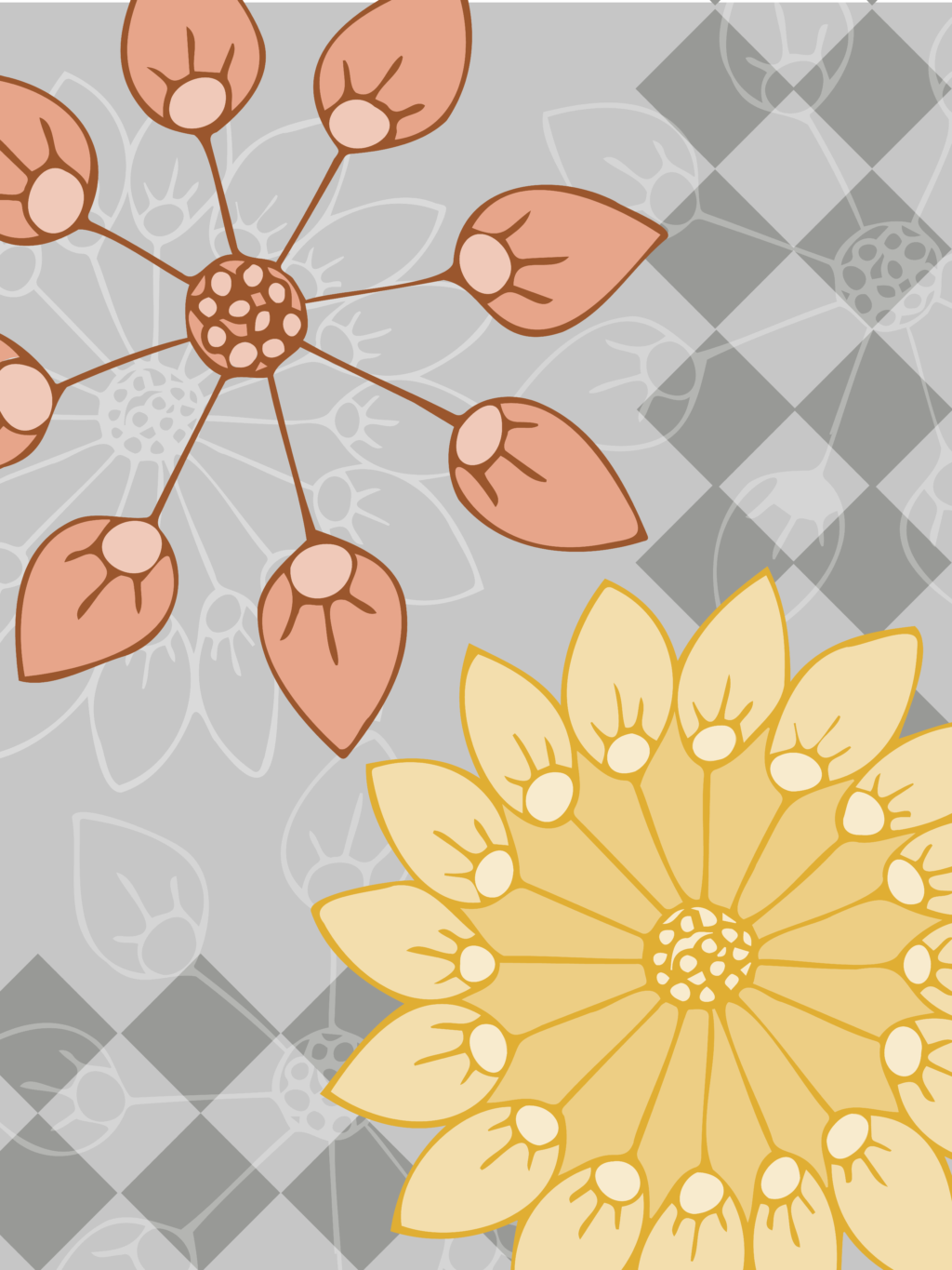 The yellow, coral, and gray floral pattern