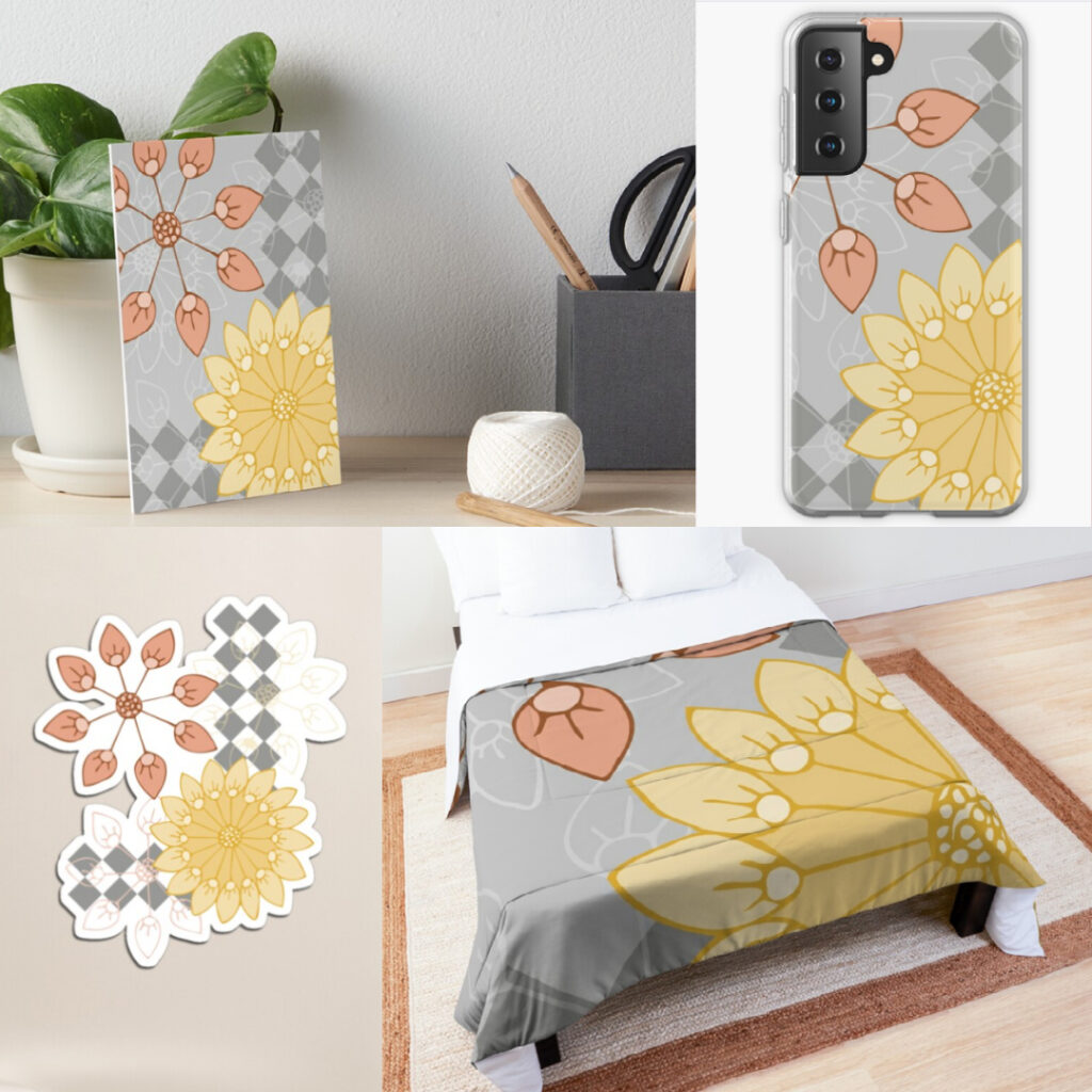 Yellow, coral, and gray floral pattern on products in my Redbubble shop.