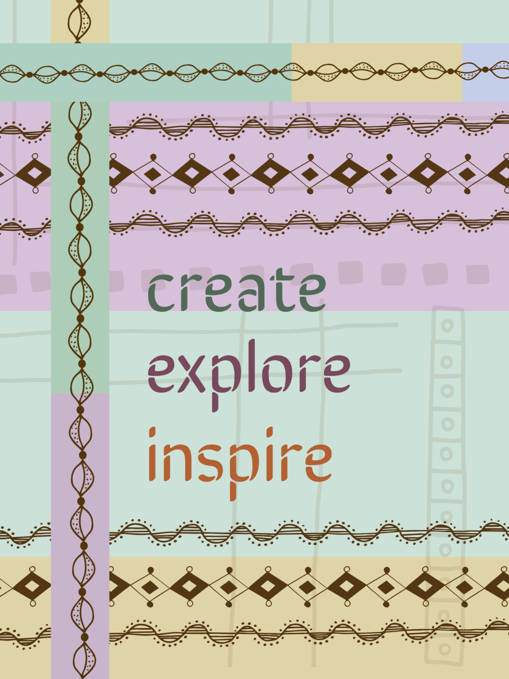 Completed Create, Explore, Inspire design.