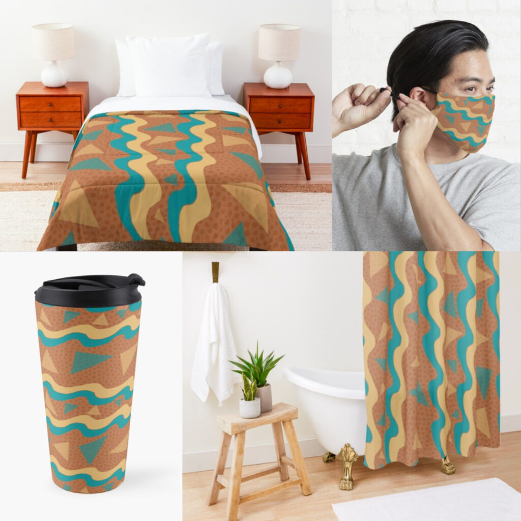 Products with my Waves & Triangles Pattern