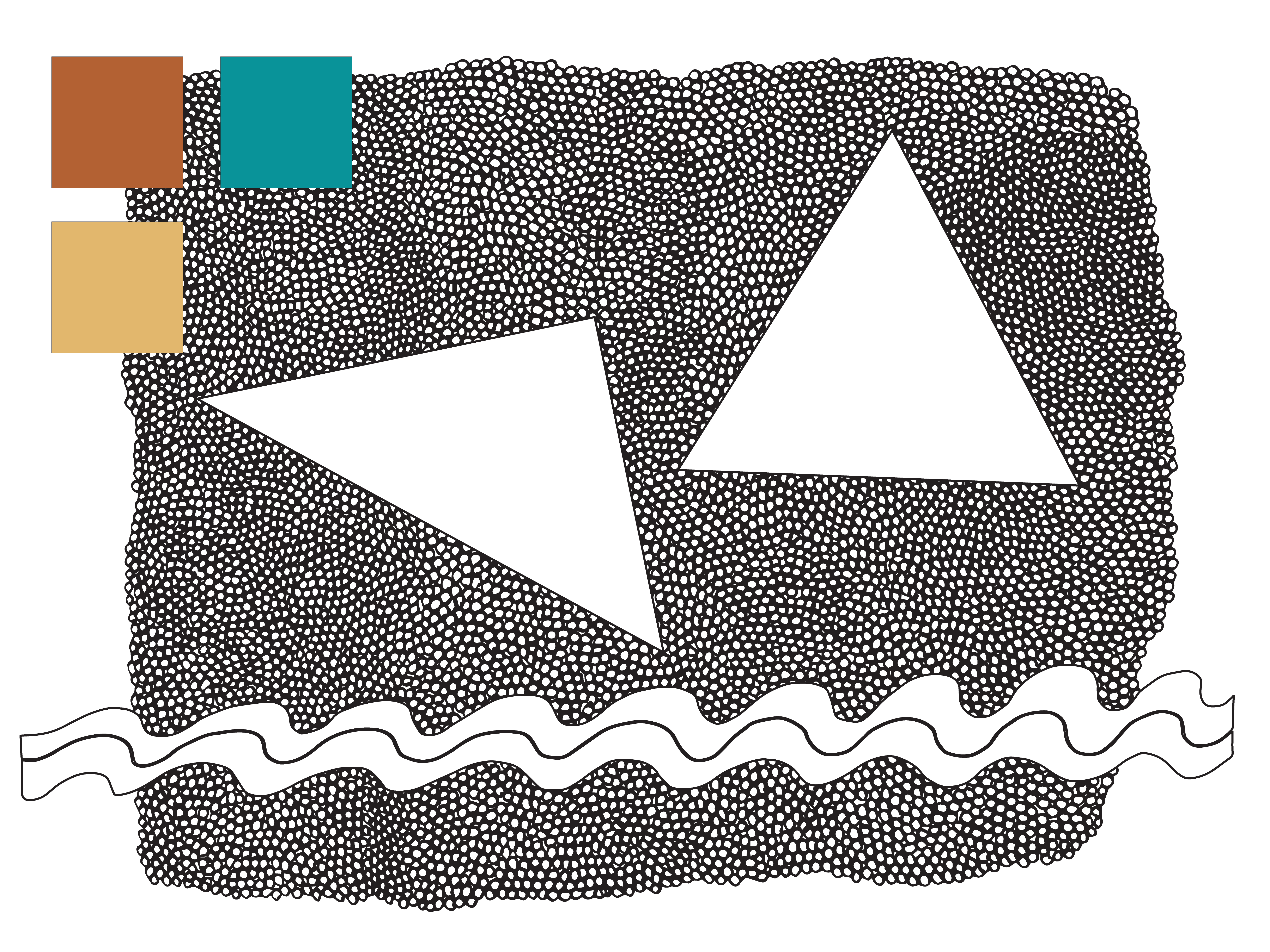 Color palette & motifs for my Waves and Triangles pattern