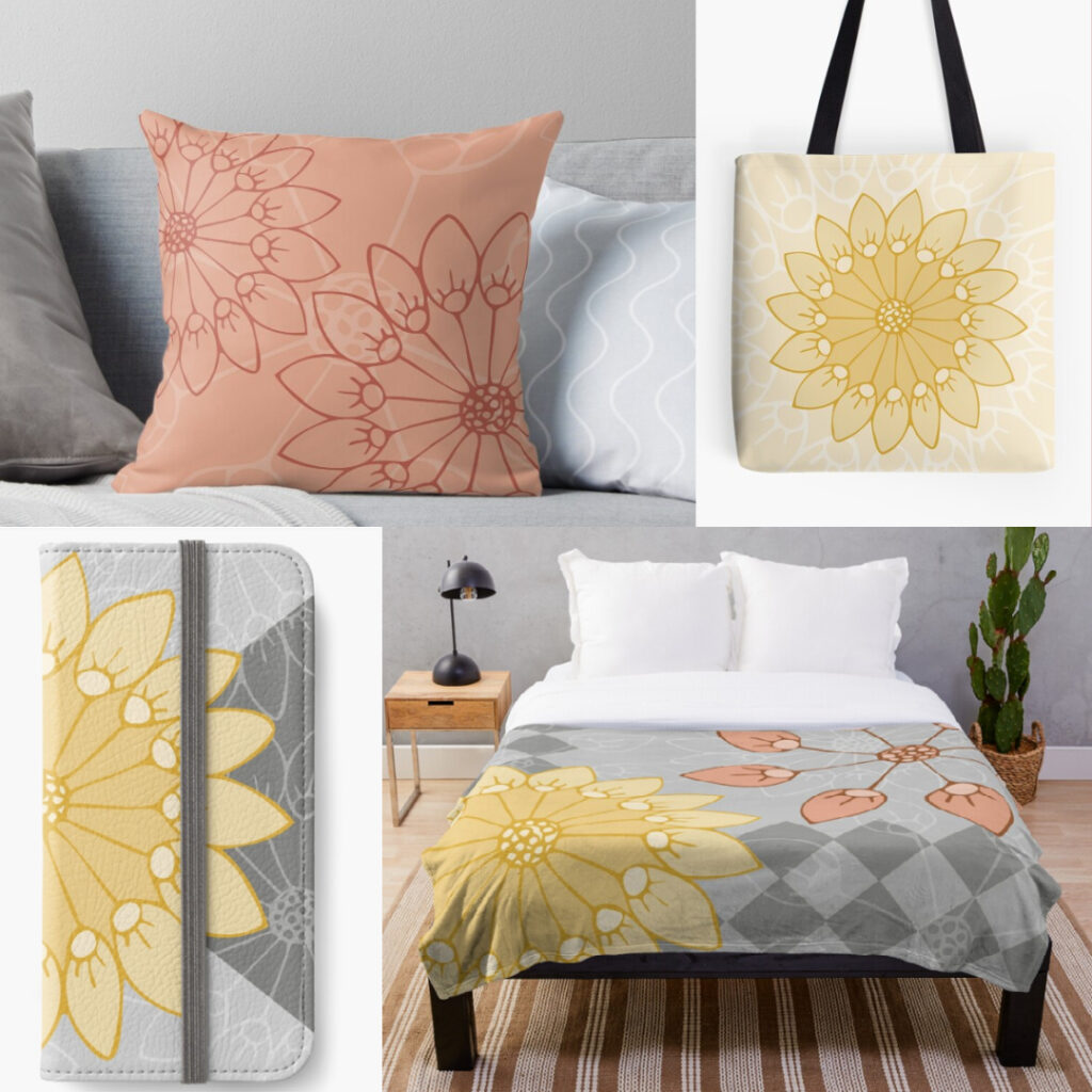 Yellow, Coral, & Gray Floral Products