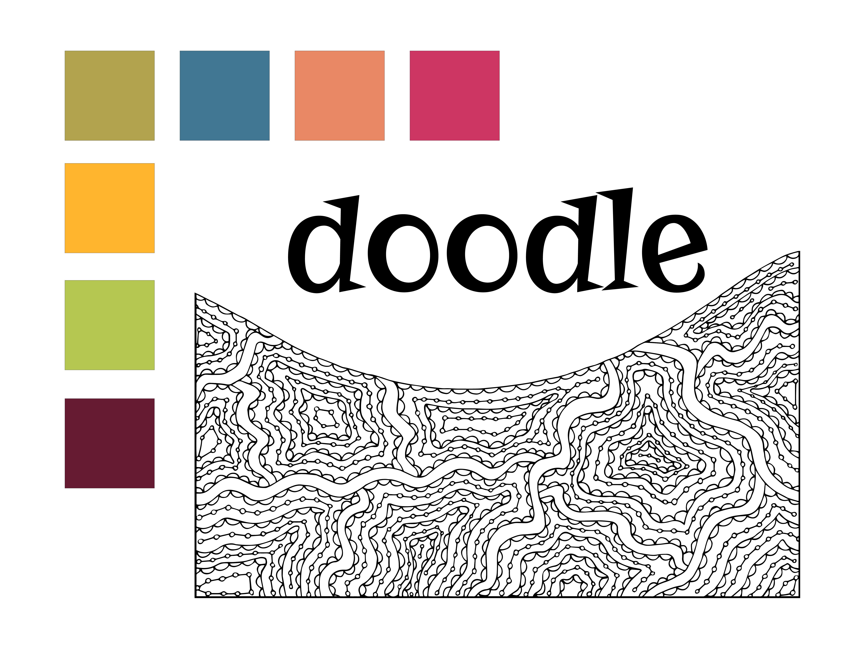 Doodle design color palette and motifs